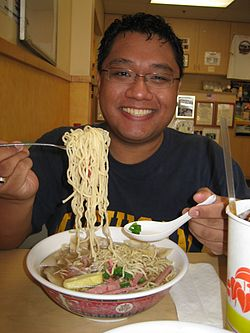 Gerald Farinas saimin at Shiro's Saimin Haven in Hawaii.jpg