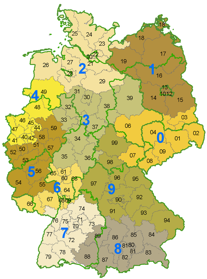 German Postleitzahl map of the first two digits. The green lines mark state borders which do not correspond with postal code areas. German postcode information.png