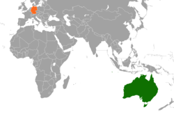 Map indicating locations of Germany and Australia