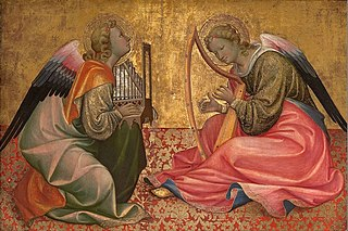 Two Seated Angels Making Music