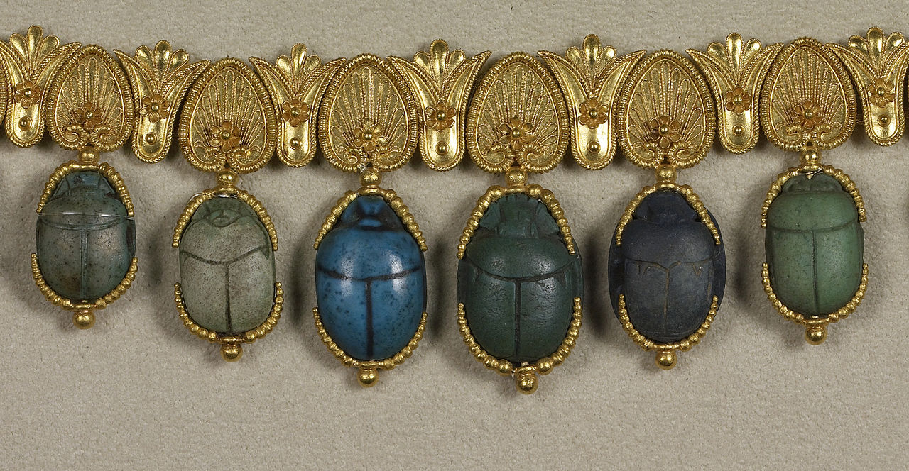Giacinto Melillo - Egyptian-Style Necklace with Scarabs - Walters 571530 - Detail B.jpg
