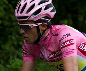 7f6c424cb Alberto Contador, winner of the 2015 Giro d'Italia, wearing the leader's  pink jersey.