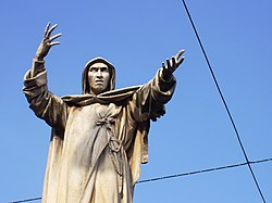 Statue of Savonarola in his birthplace, Ferrara, Italy.