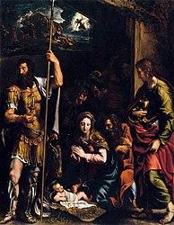 Giulio Romano: Adoration of the Shepherds with Sts. Longinus and John