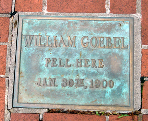 Old State Capitol (Kentucky) - A plaque set in front of the building marks where Goebel fell after being shot.