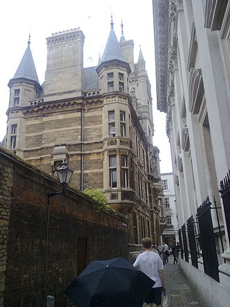 Trinity Lane - Gonville and Caius College on the left and Senate House on the right, looking along Senate House Passage.