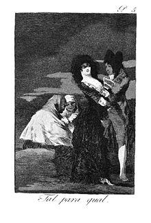 Ф. Гойя. Один другого стоит («Каприччос»). 1797—1799. офорт. акватинта, сухая игла