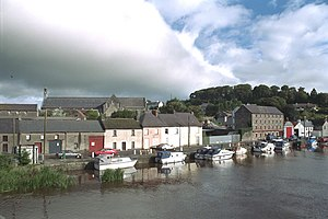 Graiguenamanagh - View of Graiguenamanagh and the church from the River Barrow
