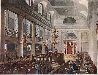 Great Synagogue of London - The Great Synagogue in 1809 (from Ackerman's Microcosm of London)
