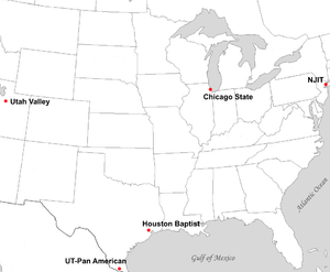 Great West Conference - Locations of final Great West Conference full member institutions.