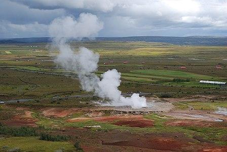 Eruption of Great Geysir, Iceland