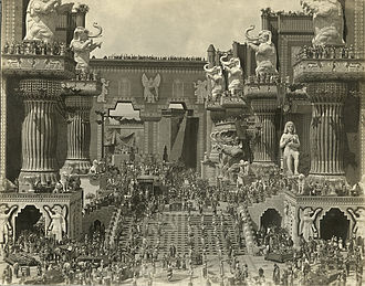 Silent film - Scene still of Belshazzar's feast in the central courtyard of Babylon from D. W. Griffith's 1916 silent film Intolerance.