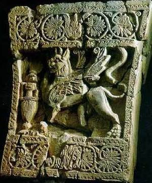Tarim, Yemen - An ancient sculpture of a griffon from the royal palace at Shabwa, the capital city of Hadhramaut