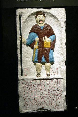 Deva Victrix - A Roman tombstone depicting Caecilius Avitus, an optio in the Legio XX Valeria Victrix