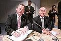 Guernseys och Jerseys finansministrar Lyndon Trott och Frank Walter undertecknar avtal med de nordiska finansministrarna vid Nordiska radets session i Helsingfors 2008-10-28.jpg