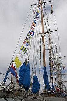 HMCS Oriole with signal flags
