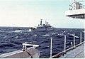 HMS Glasgow Bomb Damage following Argentinean A4 SkyHawk Attack on HMS Brilliant and HMS Glasgow 12 May 1982.jpg