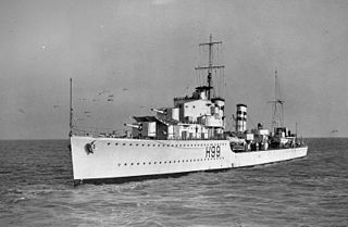 HMS <i>Hero</i> (H99) H-class destroyer, launched 1936