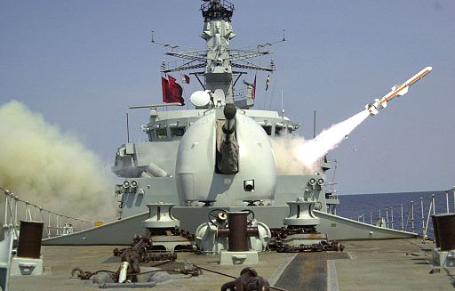 HMS Iron Duke Fires Harpoon MOD 45151584