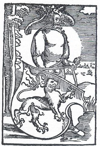 Hans Dorn - Dorn's printer's mark with the Brunswick coat of arms (1506)