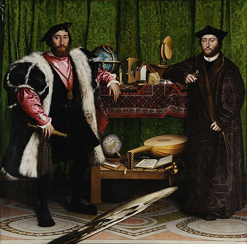 "Double Portrait of Jean de Dinteville and Georges de Selve (""The Ambassadors""), 1533; oil and tempera on oak, National Gallery, London Hans Holbein the Younger - The Ambassadors - Google Art Project.jpg"