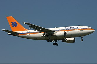 Hapag-Lloyd Flug - Hapagfly Airbus A310-300 wearing its old livery in 2004