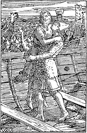Magnus IV of Norway - Image: Haraldsonnenes saga Reidar Grjotgardsson lofter Magnus Blinde W. Wetlesen