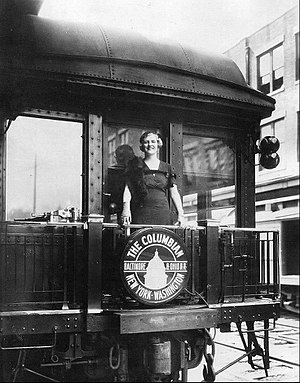 Columbian (B&O train) - CBS Radio vocalist Harriet Lee aboard the new Columbian in June 1931