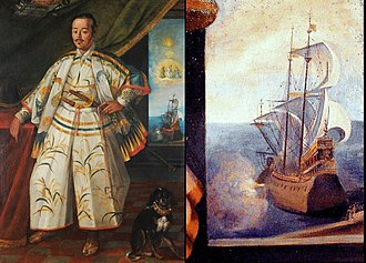 Edo period - The San Juan Bautista is represented in Claude Deruet's painting of Hasekura Tsunenaga in Rome in 1617, as a galleon with Hasekura's flag (red manji on orange background) on the top mast.