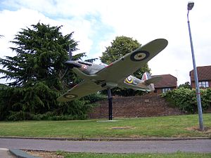 Witold Urbanowicz - Hurricane gate guardian at RAF Uxbridge in the colours of Witold Urbanowicz's 303 Squadron aircraft