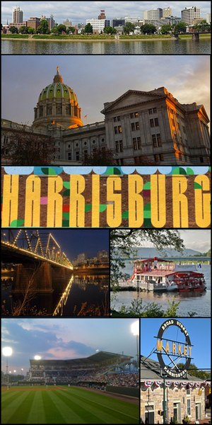 "From top to bottom, left to right: Harrisburg skyline, Pennsylvania State Capitol, ""Harrisburg"" Mural in Midtown, Walnut Street Bridge, Pride of the Susquehanna, FNB Field, Broad Street Market"