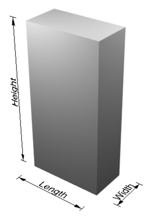 Height - A cuboid demonstrating the dimensions length, width, and height.