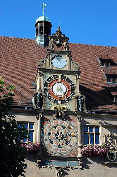 Astronomical clock at City Hall. Heilbronn Rathausuhr 20050828.jpg