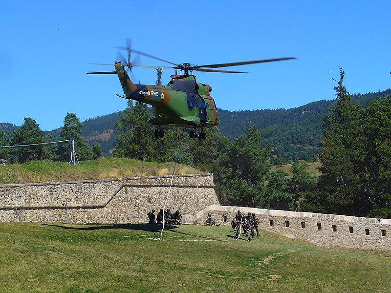 French Army Helicopter SA 330 Puma, Mt. Louis, France.