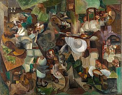 Henri Le Fauconnier, Les Montagnards attaqués par des ours (Mountaineers Attacked by Bears) 1912, RISD Museum.jpg