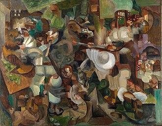 Rhode Island School of Design Museum - Henri Le Fauconnier, Les Montagnards attaqués par des ours (Mountaineers Attacked by Bears), 1912, oil on canvas, 241 x 307 cm. Exhibited at the 1912 Salon d'Automne, Paris
