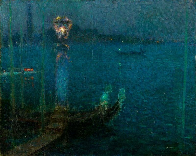Henri Le Sidaner Le Bec de Gaz - Nuit bleue 1906.jpg
