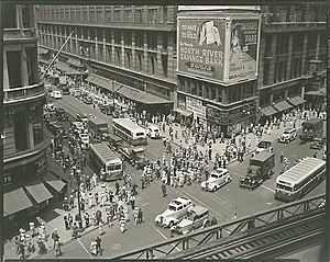 IRT Sixth Avenue Line - Looking down from 33rd St station, 1936 by Berenice Abbott
