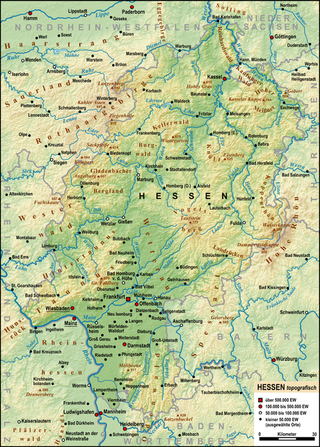 The most important rivers, mountains, and cities of Hesse Hessen topografisch Relief Karte.png