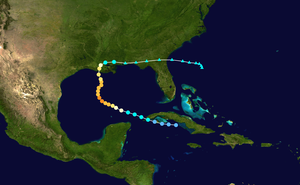 Hurricane Hilda - Image: Hilda 1964 track