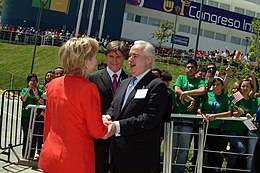 Lorenzo Zambrano greets Hillary Clinton outside TecMilenio University