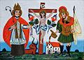 Hinterglasbild Kreuz Christi mit Hl Leonhard und Hl Florian Sandl 19Jh.jpg