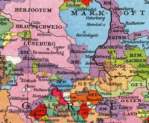 Roman Catholic Diocese of Halberstadt - Prince-Bishoprics of Hildesheim, Halberstadt and Magdeburg (violet), about 1250
