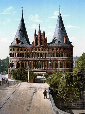 Holstengate (Holstentor), Lübeck, Germany.