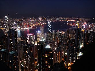 Tourism in Hong Kong - Victoria Harbour at night from Victoria Peak