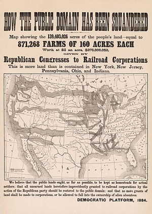 United States presidential election, 1884 - This campaign poster purports to show the area of land grants to railroads