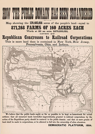 1884 United States presidential election - This campaign poster purports to show the area of land grants to railroads