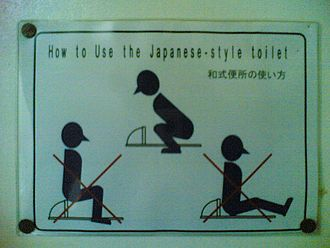 Squat toilet - How to use a squat toilet correctly (sign in a toilet cubicle in Japan)