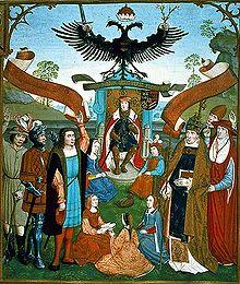 Maximilian nimmt die Huldigung der weltlichen und geistlichen Stände und die Anerkennung des Papstes entgegen. Aus Petrus Almaire: Liber missarum der Margarete von Österreich, um 1515. (Quelle: Wikimedia)