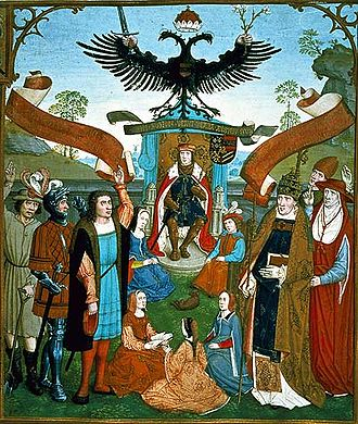 Maximilian I, Holy Roman Emperor - The hommage ceremony of the estates to the emperor (depiction from the Liber missarum of Margaret of Austria, 1515)